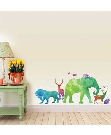 Chipakk Water Paint Texture Animal Theme HD Quality Kids Room Wall Decal - Multicolor