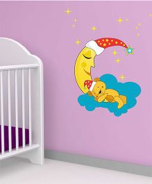 Chipakk Moon Stars And Sleeping Bear HD Quality Kids Room Wall Decal - Multicolor