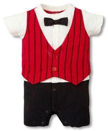 Pre Order : Petite Kids Fake Coat Romper - Red