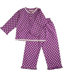 Cuddle Up Polka Dot Night Suit For Girls - Purple