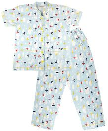 Cuddle Up Aeroplane Night Suit For Boys - Multicolour