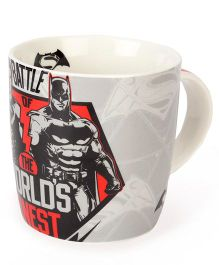 B Vishal Superman Batman Logo Mug Grey White - 300 ml