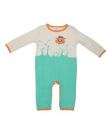 Magicberry Full Sleeves Romper Crab Embroidery - Turquoise Off White