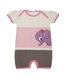 Magicberry Short Sleeves Romper Elephant Print - Off White Pink