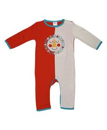 Magicberry Full Sleeves Romper Sun Embroidery - Reddish Orange Off White