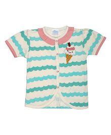 Magicberry Short Sleeves Top Ice Cream Embroidery - Off White Sea Green