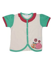 Magicberry Short Sleeves Top Snail Embroidery - Off White Sea Green