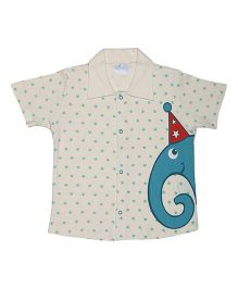 Magicberry Short Sleeves Shirt Star And Elephant Print - Off White