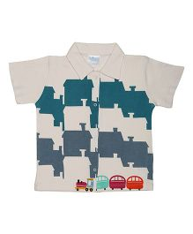 Magicberry Short Sleeves Shirt Train Print - Off White