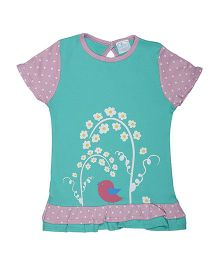 Magicberry Short Sleeves Top Bird Print - Turquoise