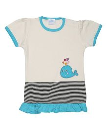 Magicberry Short Sleeves Top Whale Embroidery - Off White Blue