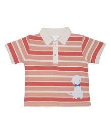 Magicberry Short Sleeves Stripe T-Shirt Puppy Print - Peach Cream