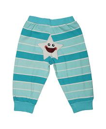 Magicberry Full Length Stripe Bottoms Star Embroidery - Blue White