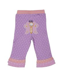 Magicberry Full Length Dotted Pajama Butterfly Embroidery - Purple Peach