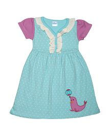 Magicberry Short Sleeves Dotted Frock Seal Embroidery - Blue Purple