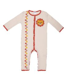 Magicberry Full Sleeves Romper Lion Embroidery - Off White