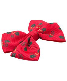 NeedyBee Hair Bow Clip - Red & Green