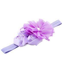 NeedyBee Soft Elastic Headband With Flower Bunch - Purple