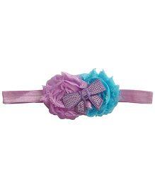 NeedyBee Soft Headband Embellished With Sequin Bow - Purple & Blue