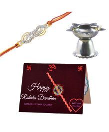 Angel Glitter Alpha Man @DQ@My Brother My Saviour Avenger@DQ@ CZ Diamond Rakhi Set (with  Pooja Diya) Gold Free Size