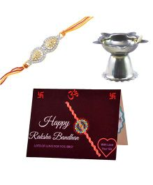Angel Glitter Alpha Man Everlasting Love of My Brother CZ Diamond Rakhi Set With Pooja Diya