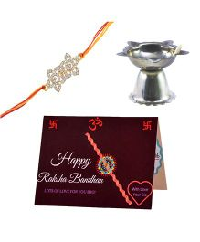 Angel Glitter Alpha Man My Brother My Luck CZ Diamond Rakhi Set With Pooja Diya