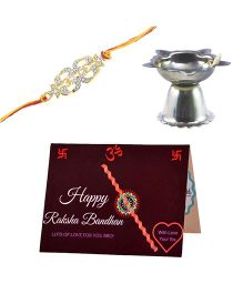 Angel Glitter Alpha Man Bro is Like a Buddy CZ Diamond Rakhi Set With Pooja Diya