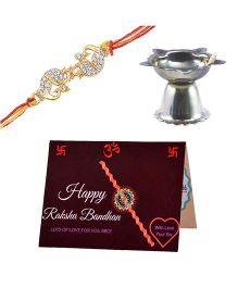 Angel Glitter Alpha Man My Brother My Family CZ Diamond Rakhi Set With Pooja Diya