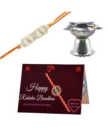 Angel Glitter Alpha Man Rakhi CZ Diamond Rakhi With Pooja Diya - Set Of 3