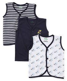 Babyhug Sleeveless Vests Pack Of 3 - Navy Blue White