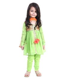 Pre Order : Chiquitita By Payal Bahl Alice Suit Embellished With Crystals & Beads - Green & Peach
