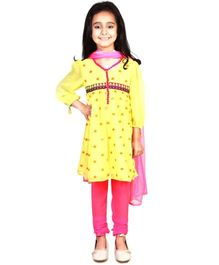 Pre Order : Chiquitita By Payal Bahl Suit With Tasseled Balloon Sleeves & Delicate Allover Sequins Work - Yellow & Pink