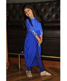Pre Order : Chiquitita By Payal Bahl Indo Western Bodice & Flowy Pleated Cowl With Leggings - Blue