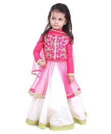Pre Order : Chiquitita By Payal Bahl Jacket Lehnga Set With Zari Embroidery- Fuschia & Ivory