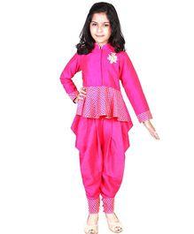 Pre Order : Chiquitita By Payal Bahl Indo Western Peplum Top With Swaroski Work Dhoti Salwar Suit - Pink