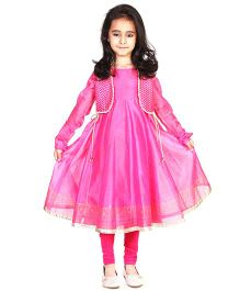 Pre Order : Chiquitita By Payal Bahl Anarkali Suit With Bolero Jacket & Legging - Pink