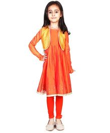 Pre Order : Chiquitita By Payal Bahl Anarkali Suit With Bolero Jacket & Legging - Orange