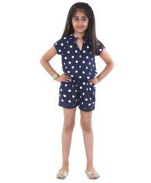 Pre Order : Chiquitita By Payal Bahl Polka Dot Short Jump Suit - Navy