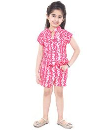 Pre Order : Chiquitita By Payal Bahl Heart Print Short Jump Suit - Coral