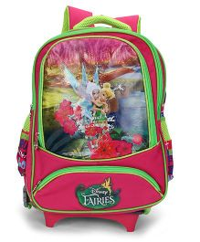 Disney Fairies School Bag Trolley Pink Green - 15 Inches