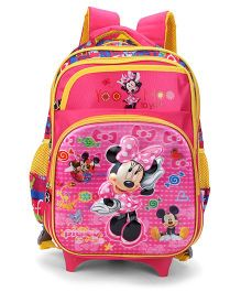 Disney Minnie Mouse School Trolley Bag Pink Yellow - 15 Inches