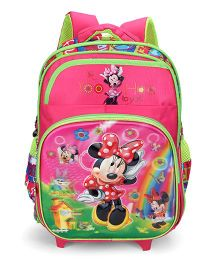 Disney Minnie Mouse School Trolley Bag Pink Green - 15 Inches