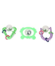 Lovely Infant Rattle Gift Set Green And Purple - Pack of 3