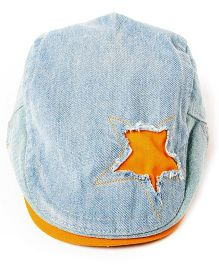 Little Hip Boutique Denim Rugged Star Cap - Blue & Orange