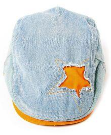 Little Hip Boutique Denim Rugged Star Cap - Orange