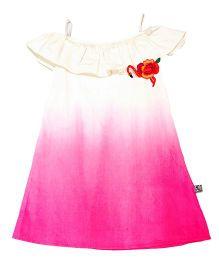 Mi Dulce An'ya Off Shoulder Dual Shade Organic Dress - Pink & Off White
