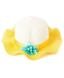 Little Hip Boutique Sunshine Flower Straw Hat - Yellow & Crème