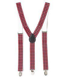 Little Hip Boutique Chess Pattern Suspender - Red & Black