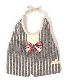 Little Hip Boutique Organic Cotton Tie On Waterproof Bib - Grey