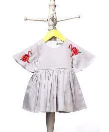 Mi Dulce An'ya Umbrella Sleeves Flamingo Dress - Grey